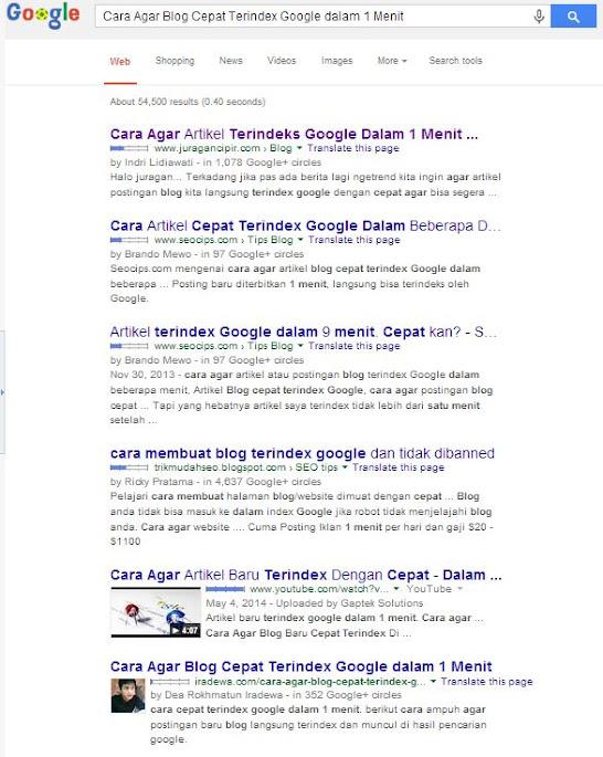 Cara Agar Blog Cepat Terindex Google dalam 1 Menit