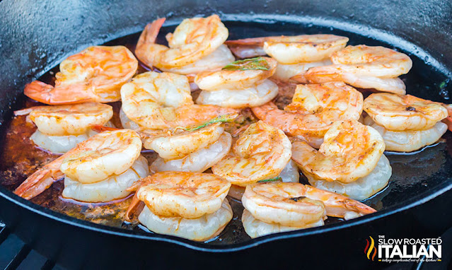 Smoked Lemon Butter Shrimp in a cast iron pan