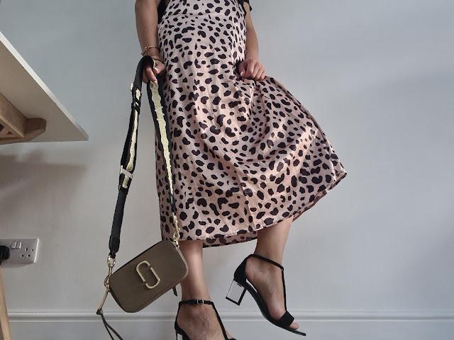 leopard satin midi skirt outfit block heels perspex marc jacobs snapshot bag