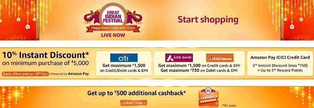 Amazon Great Indian Festival Sale Bank Offers - Extended Till 28th Oct 2020
