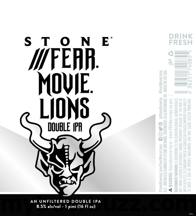 Stone Adding ///Fear.Movie.Lions DIPA Cans