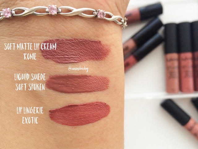 NC40 swatch nyx liquid suede soft spoken, soft matte lip cream rome