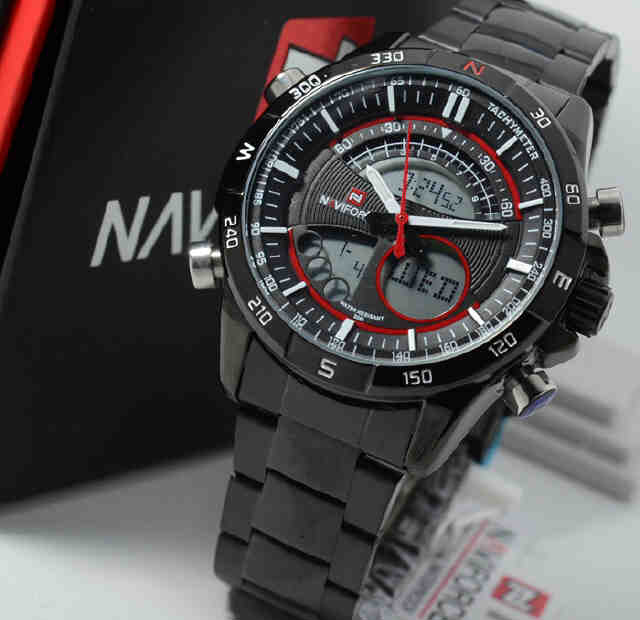 Jual jam tangan Naviforce double time NF9031MB black Chain Red Original