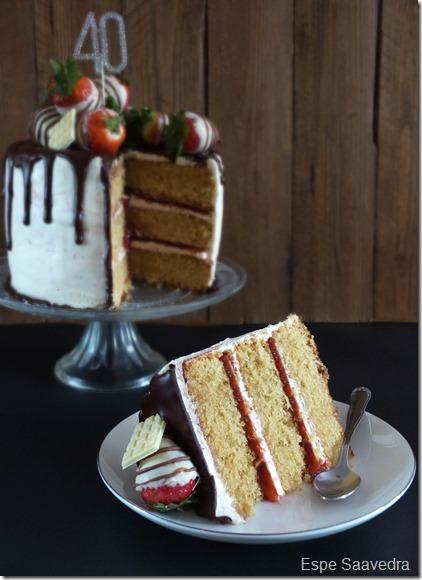 drip cake corte 40 cumpleaños espe saavedra