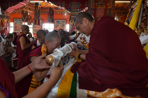 Khen Rinpoche Geshe Chonyi at enthronement, Kopan Monastery, 2011