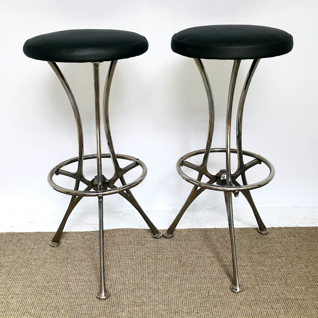 Contemporary Chrome Bar Stool Pair #3