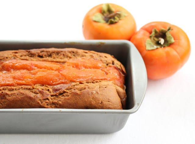close-up photo of persimmon bread in a loaf pan