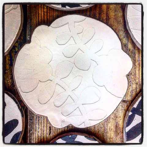 Greenware paper stenciled dessert plate