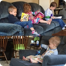 Reading books during morning devos