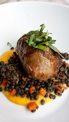 Heathman Small Hot Plate of Carlton Farms Pork Cheek with squash puree and chive beluga lentils