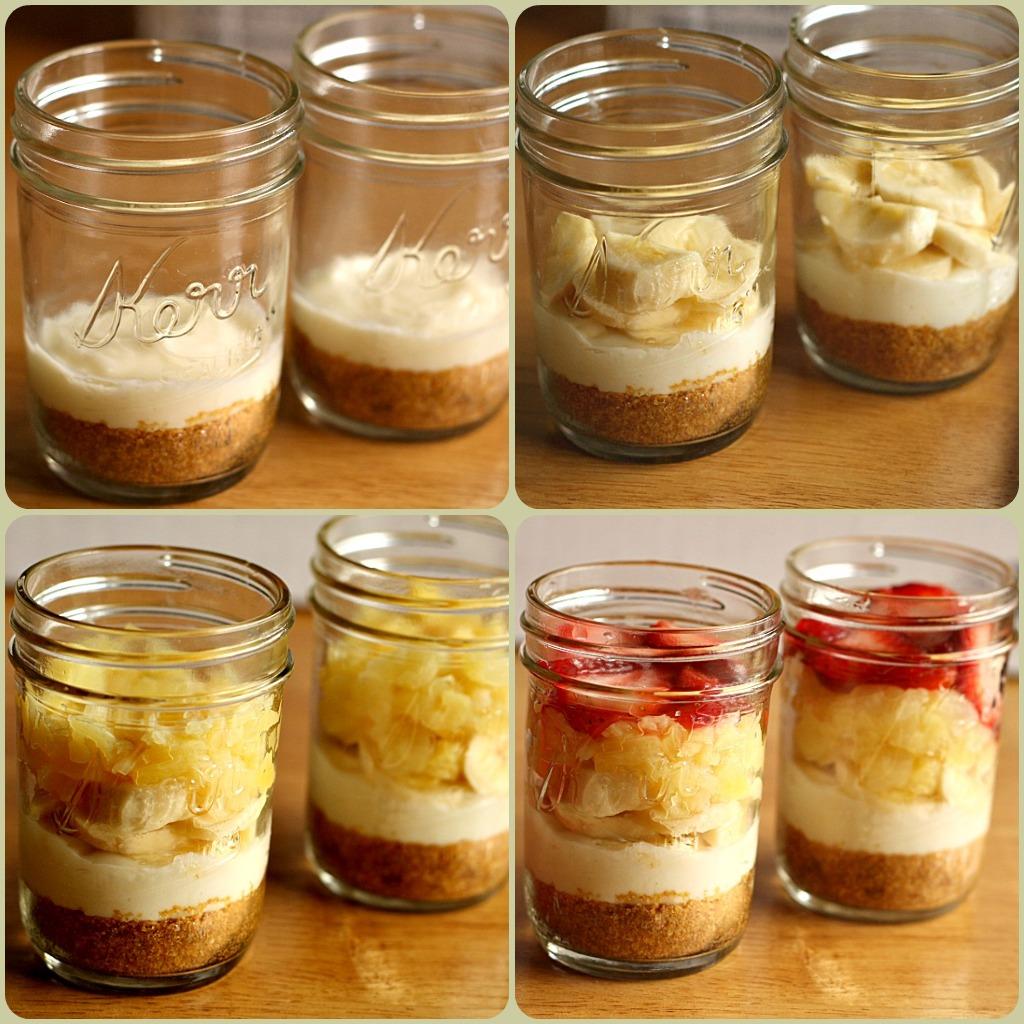 Banana Split Cake Cups Sprinkled With Flour