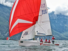 J/70 Russia one-design sailboat- sailing Lake Garda, Italy