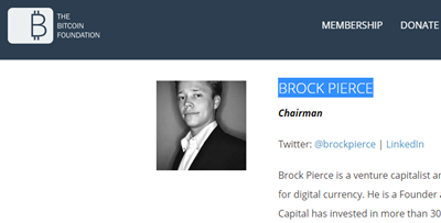 Brock Pierce, the current chairman of Bitcoin Foundation is a Pedophile