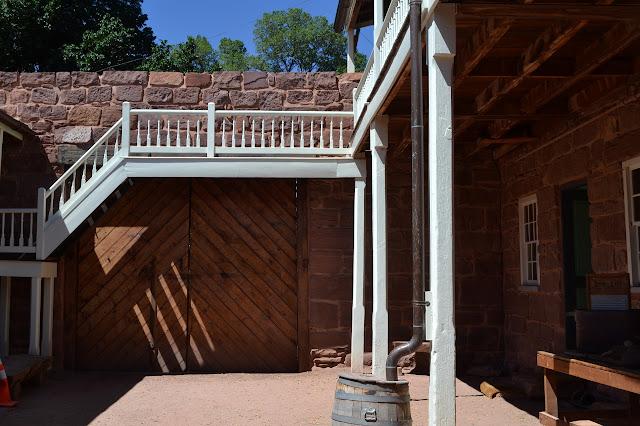 banister and rain barrel