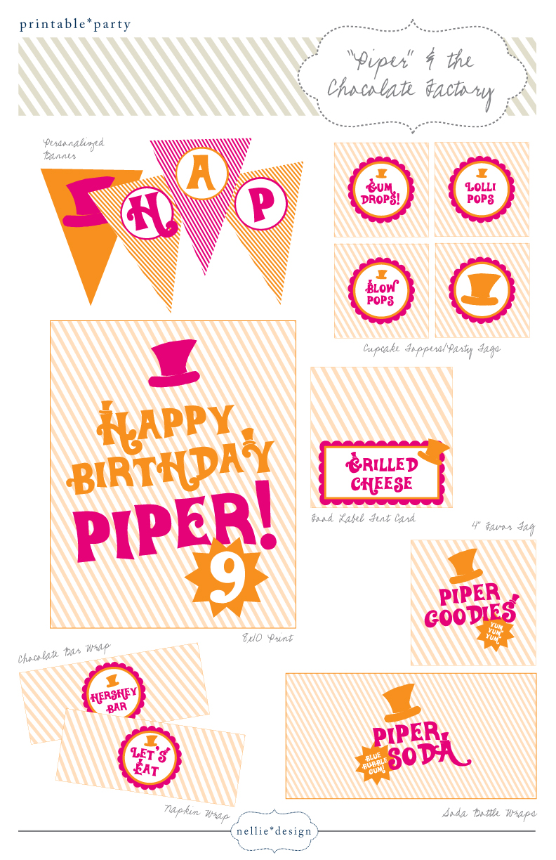 Nellie Design: Willy Wonka Inspired Birthday Party Printables