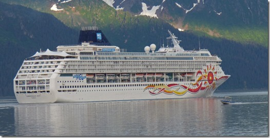 Little Boat coming up on Norwegian Sun with Kenai Mountains in Resurrection Bay