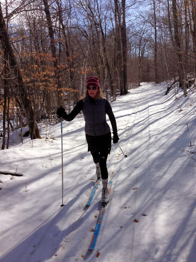 Jonell striding on Roy's Run. Still some pockets here and there with good spring snow.