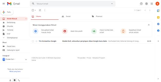 Google Mail Berhasil Dibuat Dan Diarahkan Langsung Ke Tampilan Halaman Kotak Masuk