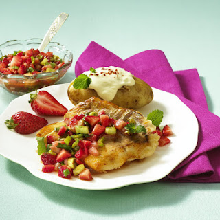 Pan-Fried Red Snapper with Baked Potato and Strawberry Salsa.