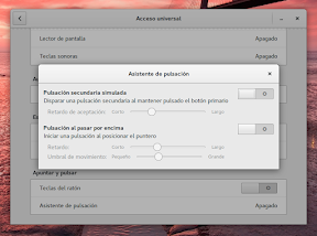 Configurar el sistema. Accesibilidad en Linux y otros. Asistente de pulsación 2.