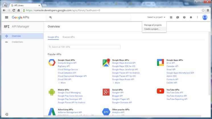 Web Push Notification Google Dev Console Create Project