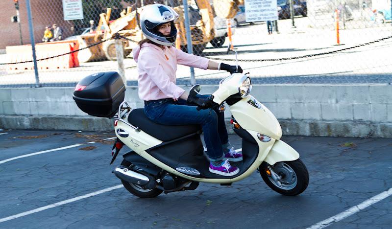 Orange Seersucker Hoodie Riding on Vespa