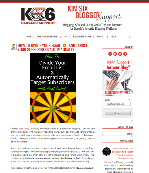 Kim Six Blog with WIdgets