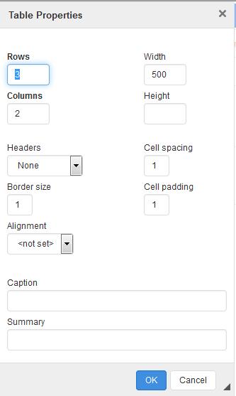 webtexttool table properties