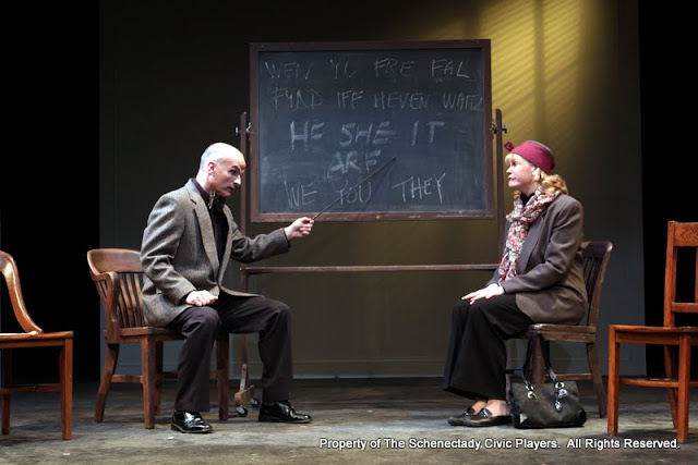 """Marty O'Connor and Cristine M. Loffredo in """"Universal Language"""" as part of THE IVES HAVE IT - January/February 2012.  Property of The Schenectady Civic Players Theater Archive."""
