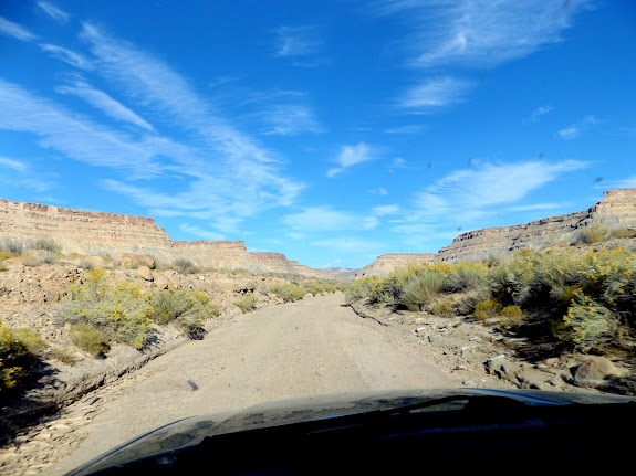 Road in the watercourse of Tusher Canyon