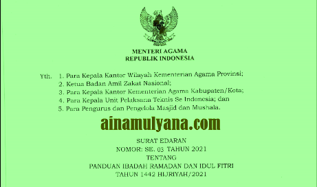 Surat Edaran SE  Menteri Agama Nomor: 3 Tahun 2021