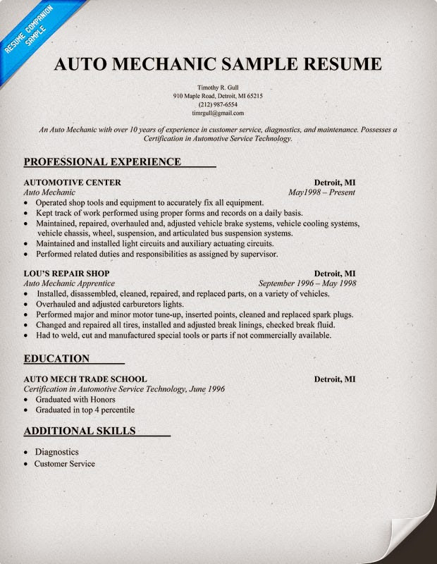 Resume Resume  Mechanic Resume CorybanticUs Free Printable