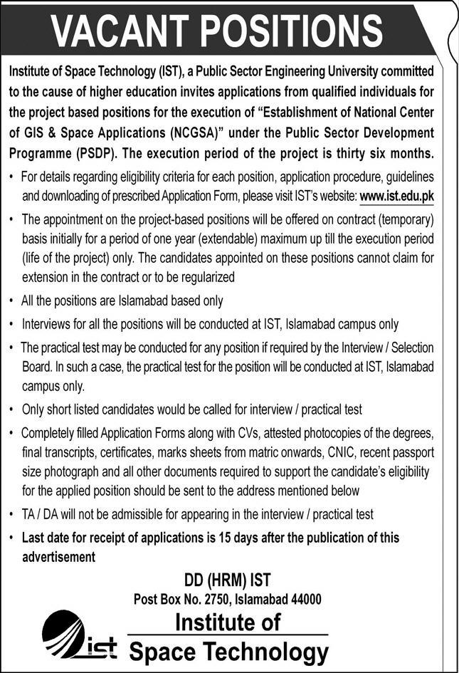 Institute Of Space Technology Islamabad Jobs September 2020