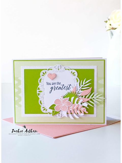 tropical chic, tropical thinlits, tropical escape dsp, stampin up, foliage frame framelits, stitched labels framelits