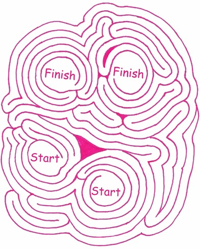 Maze Number 109: Finish to Start.  A pink printable maze.