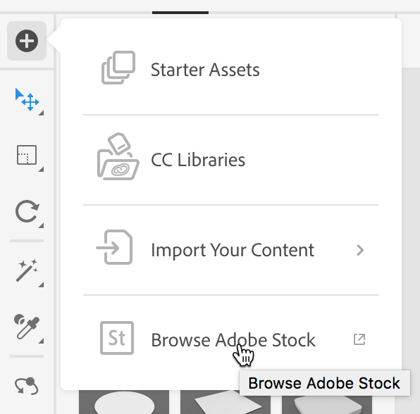 Selecting Browse Adobe Stock from the Add and Import Content button