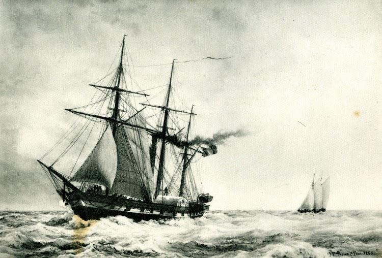 La SPHINX, aviso a vapor con ruedas de paletas, gemelo del BRANDON. Acuarela de F. Roux. Musée de Marine. Del libro Histpoire de la Marine Française.jpg