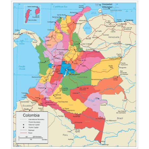 Mapa politico de Colombia con sus departamentos y Capitales7