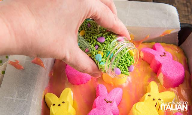 Easter sprinkles on fudge