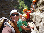 The Guide and the children in Via ferrata of Sautet Dam above Grenoble and OIsans mountains