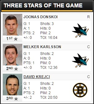 3/15/2016 - Bruins @ Sharks Three Stars