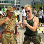 matt with a Japanese army soldier in Tokyo, Tokyo, Japan