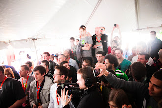 Photo: The crowd awaits Takeru Kobayashi's attempt to break the world grilled cheese record - Photo by James Martin
