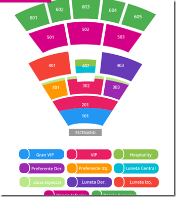 Auditorio Metropolitano Puebla zonas de boletos a la venta