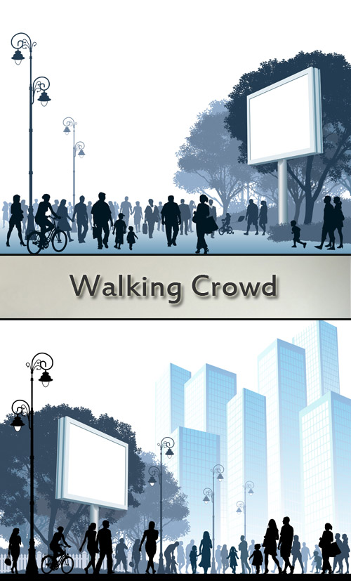 Stock: Walking crowd under a white billboard