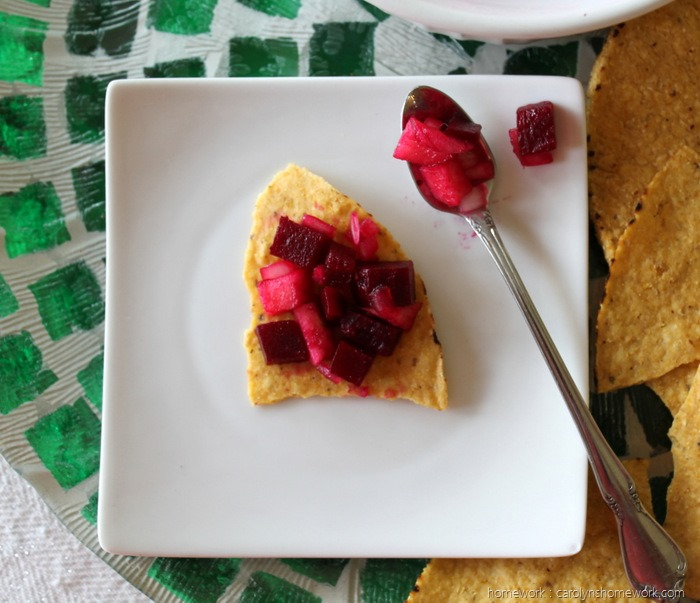 Beet & Apple Salsa on a chip via homework