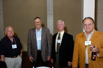 Photo: Jack Eaton, George Hlista, '58, Stoney Fetterly, Jerry Mayo, '55, husband of Sherrill Williams Mayo