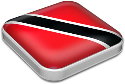 Flag of Trinidad and Tobago with metallic square frame