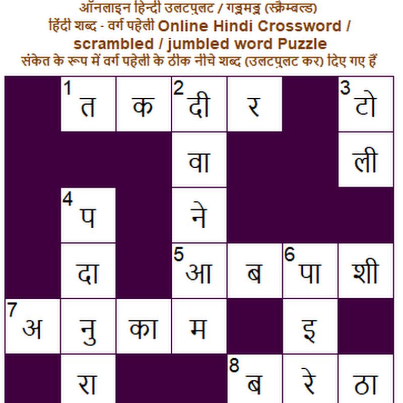 वर्गपहेली varga paheli - 915 : भय या संकोच के कारण हृदय की तेज़ धड़कन?