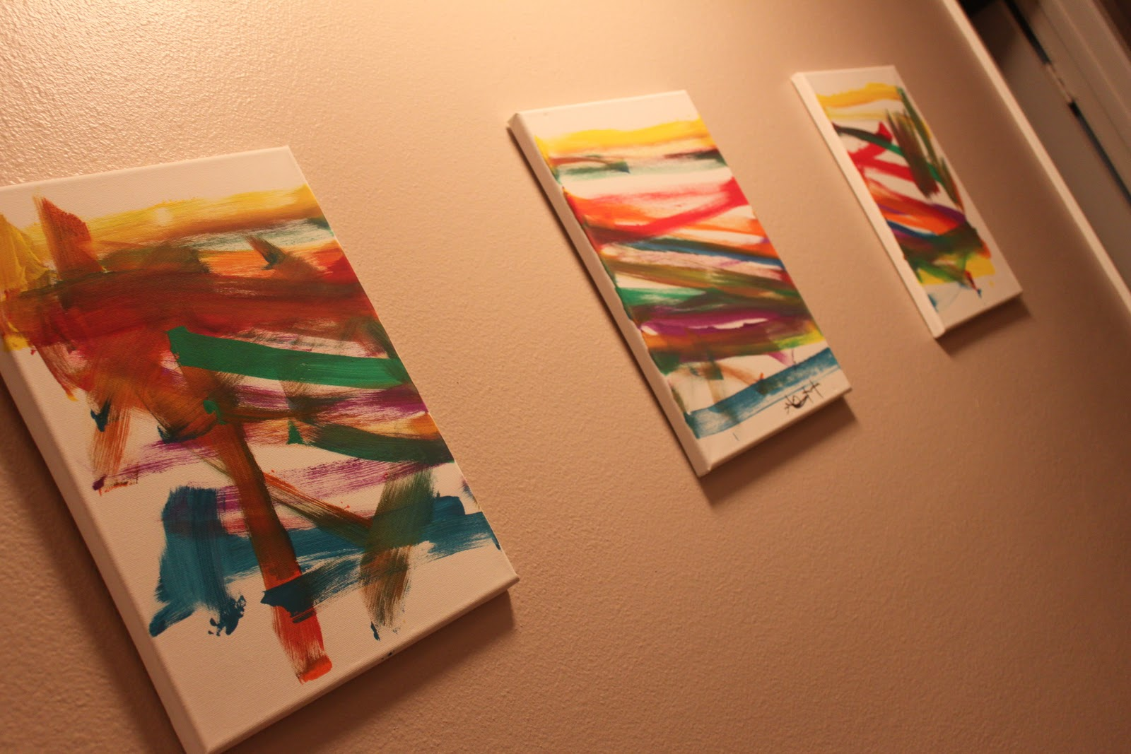9 Dollar Wall Decor Tri Panel Abstract Paintings
